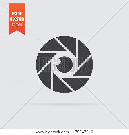 Diaphragm Icon In Flat Style Isolated On Grey Background.
