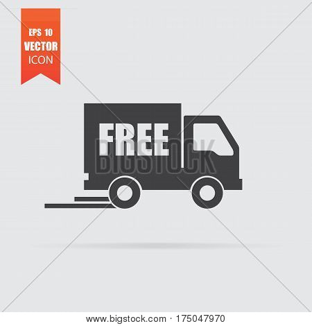 Free Delivery Icon In Flat Style Isolated On Grey Background.