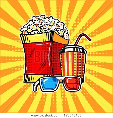 Popcorn drink and colorful cinema glasses pop art style. Cinema attributes. Hand drawn comic book imitation vector illustration