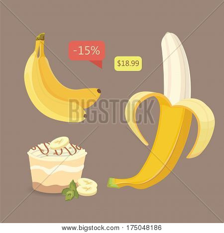 Fresh banana fruits, collection of vector illustrations. Peeled and sliced bananas isolated