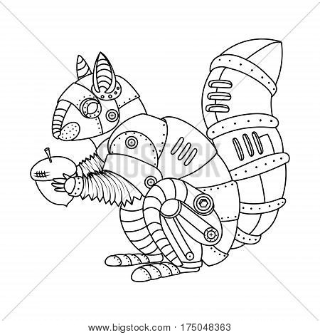 Steam punk style squirrel. Mechanical animal. Coloring book vector illustration.