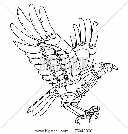 Steam punk style crow. Mechanical animal. Coloring book vector illustration.