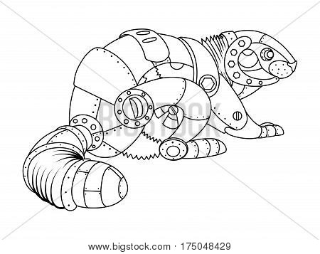 Steam punk style beaver. Mechanical animal. Coloring book vector illustration.