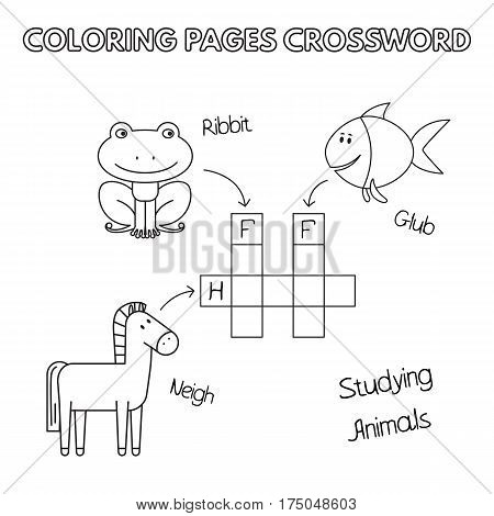 Funny animals crossword. Vector coloring book pages for children education