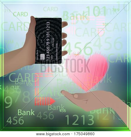 Concept bank card sale love prostitution heart. Hand holding credit card realistic with abstract geometric design, isolated on photo background. Vector illustration for your design.