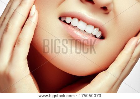 Woman Teeth After Whitening. Happy Smiling Woman. Dental Health Concept. Oral Care. Beautiful White