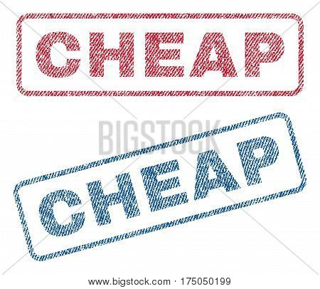 Cheap text textile seal stamp watermarks. Blue red fabric vectorized texture. Vector caption inside rounded rectangular shape. Rubber emblem with fiber textile structure.
