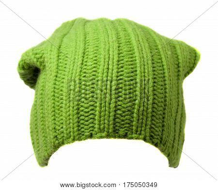 Women's Hat . Knitted Hat Isolated On White Background.green Hat