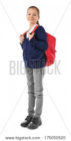 School child with backpack on white background. Incorrect posture concept