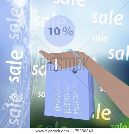 Resale discounts are ten percent. Hand holding credit card and package for realistic purchases with abstract geometric design, isolated on photo background. Vector illustration for your design.