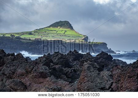 Volcanic coast in Biscoitos, Terceira, Azores, Portugal