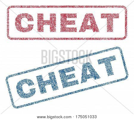 Cheat text textile seal stamp watermarks. Blue red fabric vectorized texture. Vector tag inside rounded rectangular banner. Rubber sign with fiber textile structure.