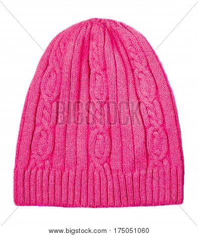 Women's Hat . Knitted Hat Isolated On White Background.pink Hat