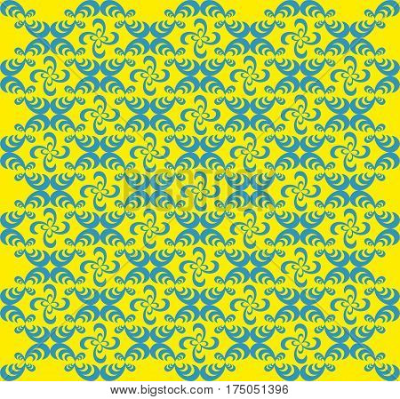 Abstract Repeating Blue pattern on a yellow background Vector