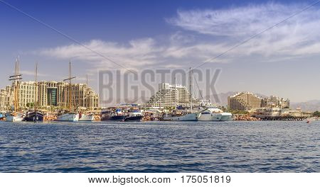 Central beach and marina in Eilat - famous resort and tourist city in Israel