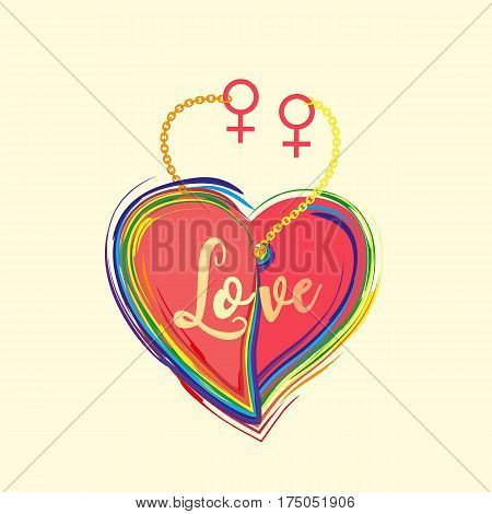 Gender diversity concept. Rainbow heart with lettering Love. LGBT community sign. Romantic card for girlfriends couple with female symbol. Same sexual orientation lovers vector illustration