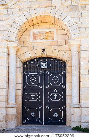 gate of main entrance of  the greek orthodox monastery, Mount Tabor, Lower Galilee, Israel