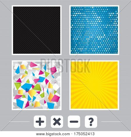Carbon fiber texture. Yellow flare and abstract backgrounds. Plus and minus icons. Delete and question FAQ mark signs. Enlarge zoom symbol. Flat design web icons. Vector