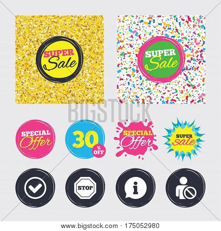 Gold glitter and confetti backgrounds. Covers, posters and flyers design. Information icons. Stop prohibition and user blacklist signs. Approved check mark symbol. Sale banners. Special offer splash