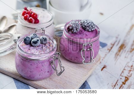 Selection of colourful overnight oatmeals with berries, copy space
