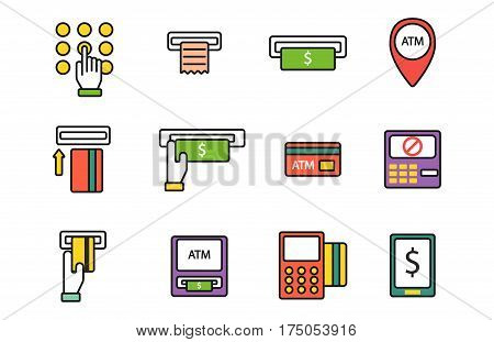ATM pos-terminal with hand credit card icons payment transfer mobile service and automatic terminal money currency cash sign banking dollar machine vector illustration. Thin line design.