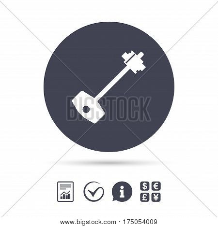 Key sign icon. Unlock tool symbol. Report document, information and check tick icons. Currency exchange. Vector