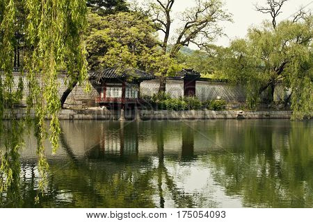 SEOUL KOREA - MAY 17 2015: Gyeonghoeru Pavilion of Gyeongbokgung Palace Seoul, South Korea