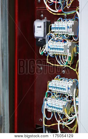 Open distribution board, closeup