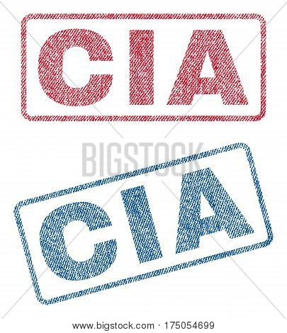 CIA text textile seal stamp watermarks. Blue red fabric vectorized texture. Vector tag inside rounded rectangular shape. Rubber emblem with fiber textile structure.