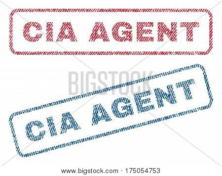 CIA Agent text textile seal stamp watermarks. Blue red fabric vectorized texture. Vector caption inside rounded rectangular banner. Rubber sign with fiber textile structure.