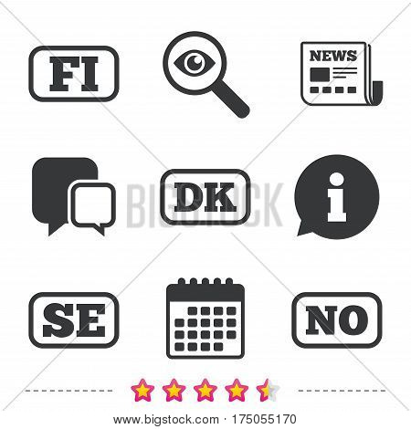 Language icons. FI, DK, SE and NO translation symbols. Finland, Denmark, Sweden and Norwegian languages. Newspaper, information and calendar icons. Investigate magnifier, chat symbol. Vector