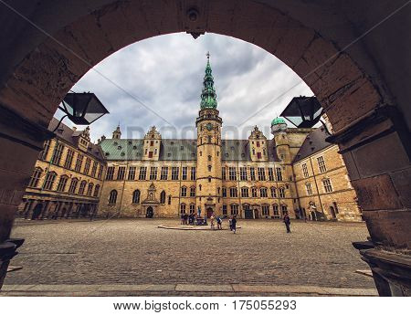 HELSINGOR DENMARK 14 JUNE: Courtyard of complex Kronborg Castle Helsingor Denmark in 2012