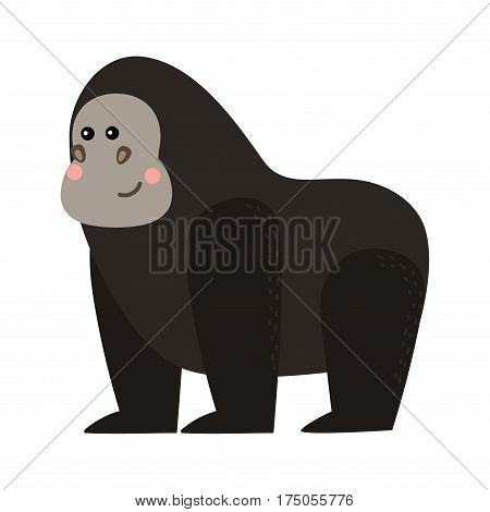 Gorila monkey rare animal vector. Cartoon macaque nature primate character. Wild zoo ape chimpanzee. Wildlife jungle animal mammal.