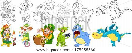 Cartoon characters set. Festival collection. King man (prince) circus clown juggling leprechaun on saint patricks day ufo alien scary monster flying dragon animal. Coloring book pages for kids.