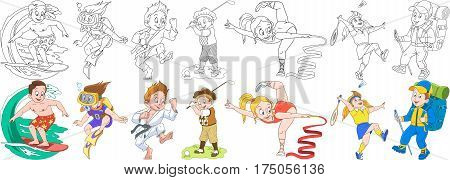 Cartoon children set. Collection of active sports. Boys and girls playing golf badminton surfing scuba diving practicing karate gymnastics and mountain hiking. Coloring book pages for kids.