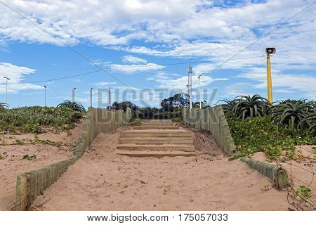 Wooden Stairs Next To Aloe Plants And Dune Vegetation