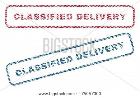 Classified Delivery text textile seal stamp watermarks. Blue red fabric vectorized texture. Vector tag inside rounded rectangular banner. Rubber emblem with fiber textile structure.