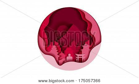 Vector illustration background circle icon flat style architecture buildings monuments town city country travel printed materials, cover, Japan, monuments, Tokyo, Japanese culture, landscape, mountain