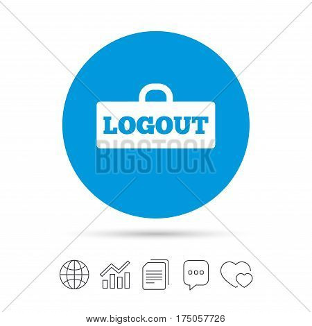 Logout sign icon. Sign out symbol. Lock icon. Copy files, chat speech bubble and chart web icons. Vector