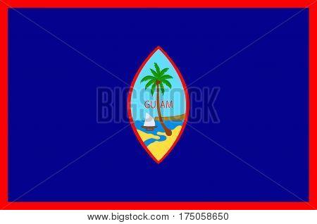 Flag of Guam (US) Hagatna - Melanesia. Vector illustration