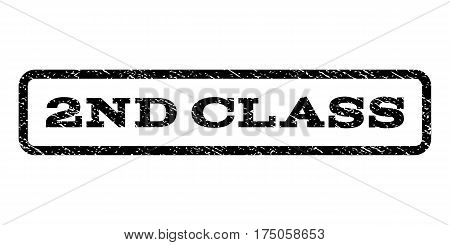 2nd Class watermark stamp. Text caption inside rounded rectangle frame with grunge design style. Rubber seal stamp with scratched texture. Vector black ink imprint on a white background.