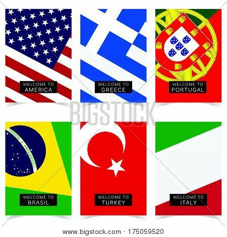 Poster With Flag In Color Set Illustration