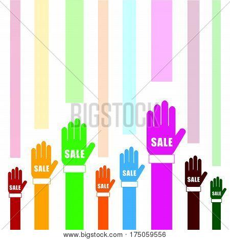 Sale On Hands Set In Color Illustration