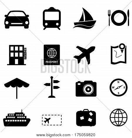 Travel and holiday related black icon set