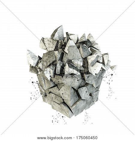 3d illustration of a broken rock isolated on white background