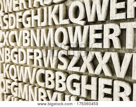 3d illustration of concrete letters on a wall