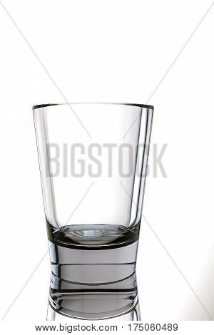 3d illustration of an empty glass isolated on white background