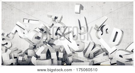 3d illustration of falling concrete letters isolated on white background