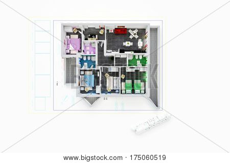 3d illustration of an architecture plan isolated on white background