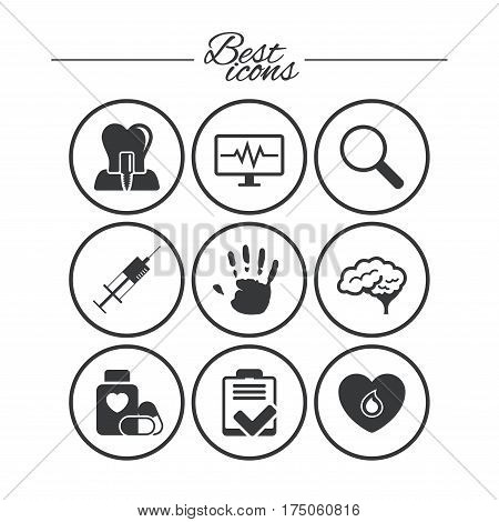 Medicine, medical health and diagnosis icons. Blood, syringe injection and neurology signs. Tooth implant, magnifier symbols. Classic simple flat icons. Vector